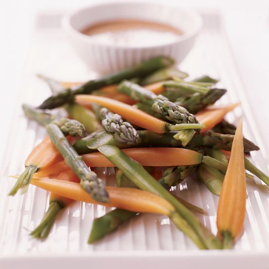 Delica RF-1 buys organic green and white asparagus for this salad from Zuckerman's Farm, a regular vendor at the Ferry Plaza Farmers Market. Zuckerman...