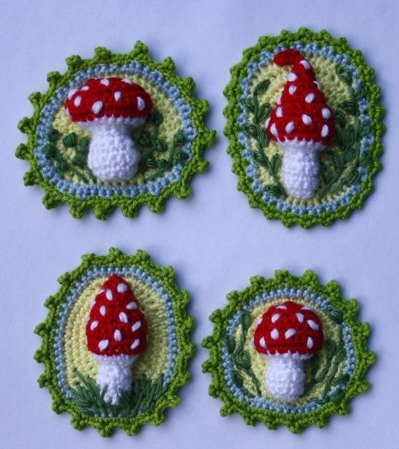 Crochet DIY So very cute these Toadstool Patches x4 as Crochet Pattern, for sale at CAROcreated on Etsy