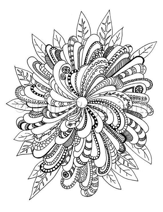 Printable Coloring Page Digital Download Floral Mandala Ish Etsy Abstract Coloring Pages Mandala Coloring Pages Coloring Pages