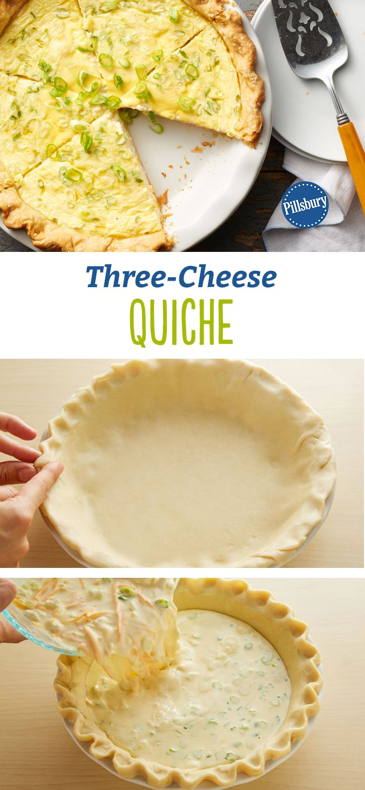 Three-Cheese Quiche: Stir up this creamy light quiche in just 15 minutes using Pillsbury™ refrigerated pie crust. Perfect for any meal time, but lovely for breakfast or brunch!
