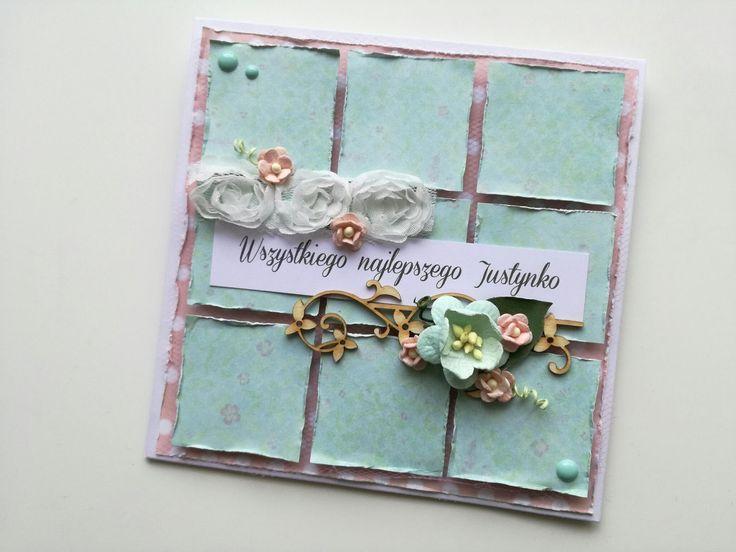 Pastelowa i romantyczna propozycja kartki dla kobiety