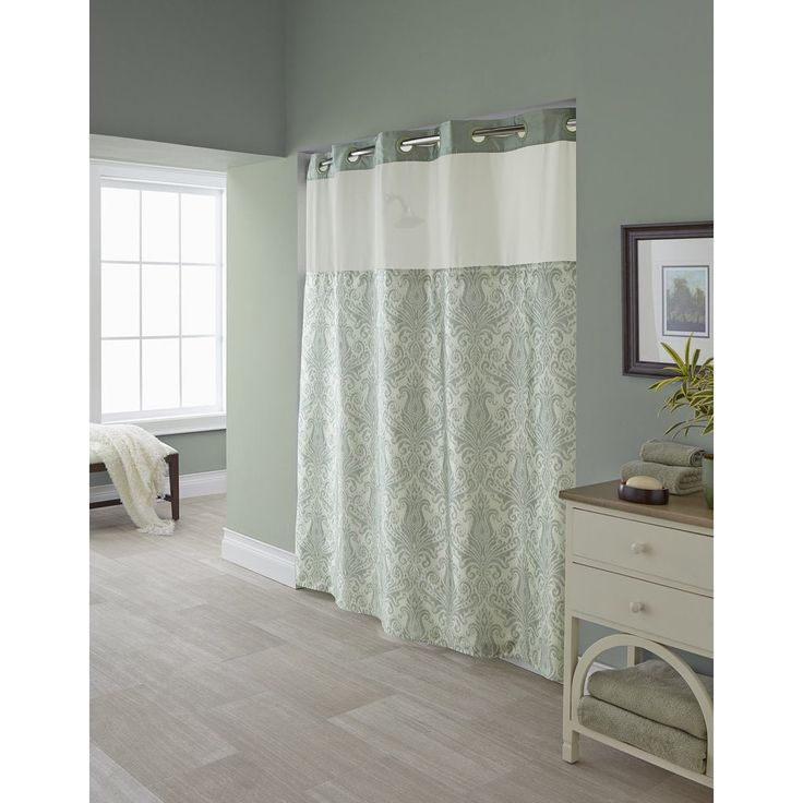 Hookless Vintage Shower Curtain with Snap-On Liner