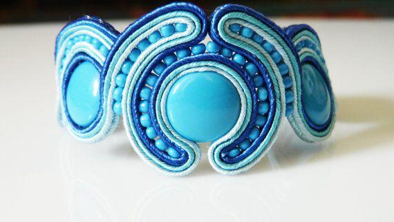 soutache bracelet in blue. sutasz. by EmilyArtHandmade on Etsy