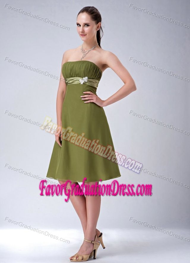 Possibly Alayna's dress for rehearsal dinner. Olive Green Empire Strapless Chiffon University Graduation Dress with Sash
