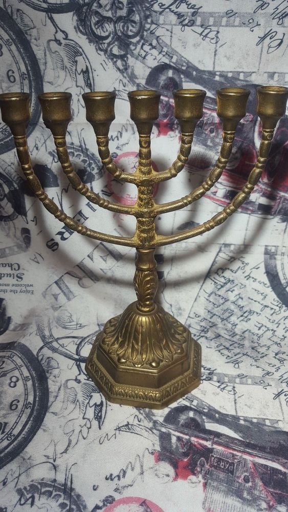 Judaica Brass Vintage Menorah Israel Hanukkah Candle Holder Jewish Copper Jerusa