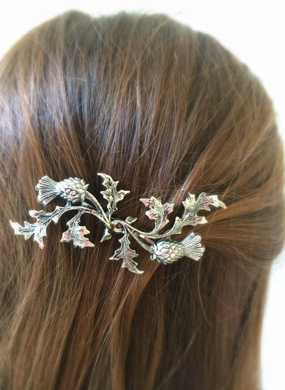 Silver Scottish Thistle Hair Pin leaf Bobby Pin by TressTemptress