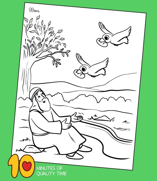 Elijah And The Ravens Colouring Page Bible Activities For Kids