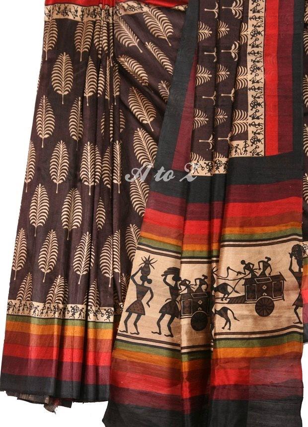 DFBSS107 Mulberry raw silk saree  Exquisite hand-woven rawsilk (mulberry) burgundy saree with fern motiffs on body and warli art print on border. Pallu is enhanced with multicoloured borders and warli artwork