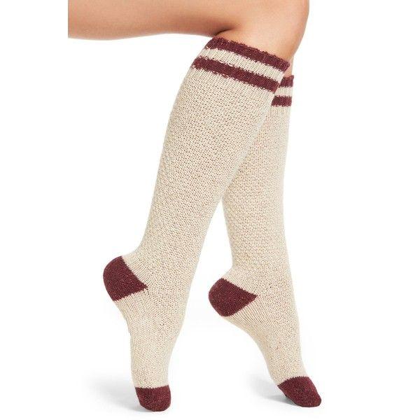 Urban Knit Stripe Knee High Socks (13 CAD) ❤ liked on Polyvore featuring intimates, hosiery, socks, cream, knee high hosiery, urban socks, striped socks, urban knit and knee high socks