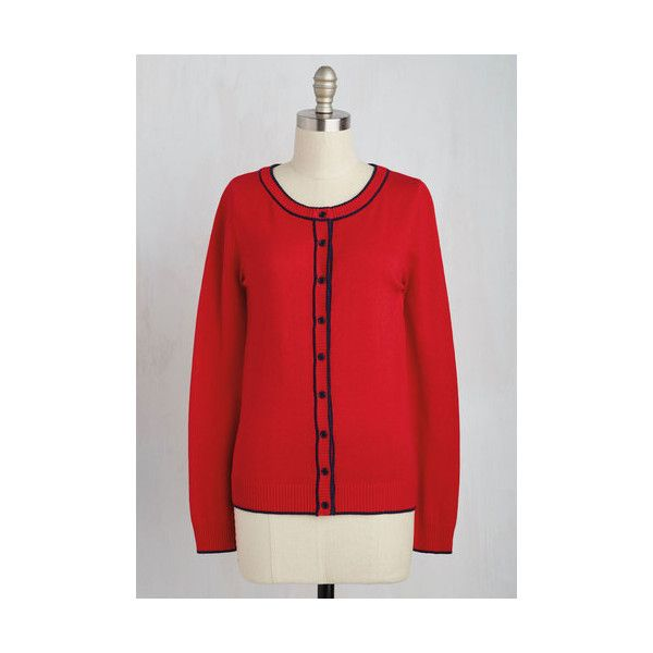 Nautical Mid-length Long Sleeve Feature of Habit Cardigan ($50) ❤ liked on Polyvore featuring tops, cardigans, apparel, red, sweaters, nautical tops, red top, nautical cardigan, red cardigan and long sleeve cardigan