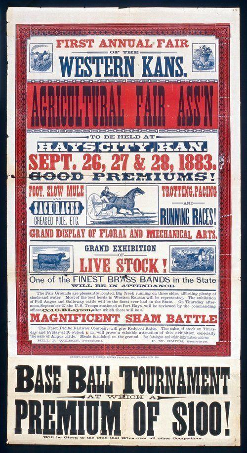 1st Annual Fair of the Western Kansas  1883 -- Hays, KS