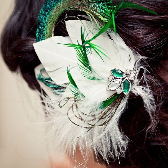 White and Emerald Green Feather Hair Clip by ChantillyLaceDesigns