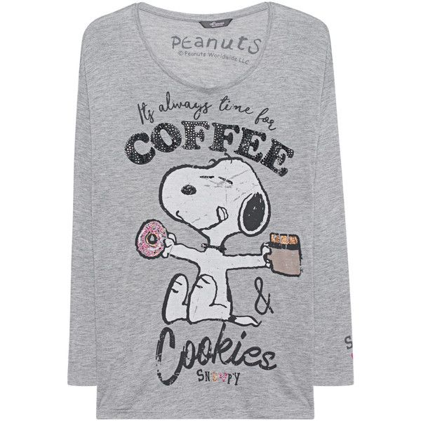 Princess Goes Hollywood Snoopy Coffee Grey Printed Long Sleeve 98 Liked On Polyvore Featurin Grey Long Sleeve Shirt Grey Long Sleeve Tops Coffee Shirts