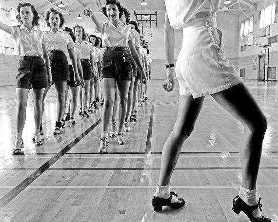 A tap dancing class at Iowa State College. Ames, Iowa. 1942.    This is a high resolution JPG image which will produce nice results on a home