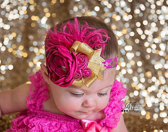 Pink Gold headband. Girls headbands. Couture headband. Fancy headbands. Boutique headbands. Kids headbands. Hot pink headband. Ott headband