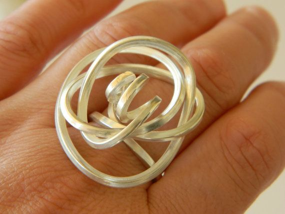 Silver 925 statement ring with curves sterling silver by craftysou, $80.00