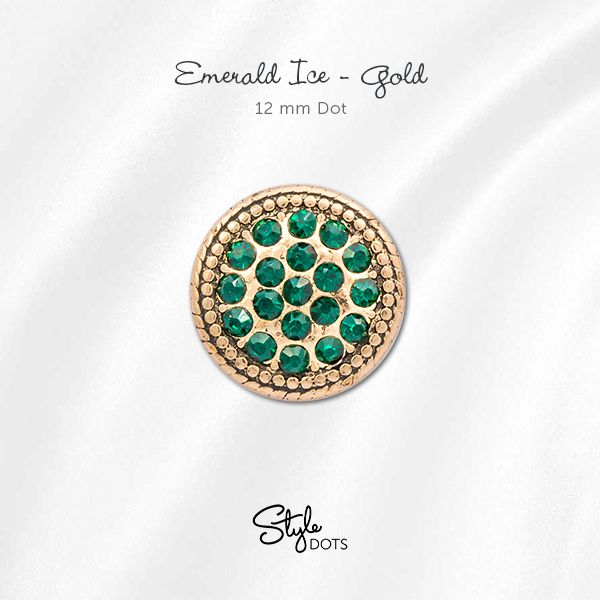 Emerald is the Birthstone for the month of May and Style Dots offers several Styles of this vivid-hued favorite. Our Emerald Ice - Gold 12 mm Dot can be snapped into any of our foundation pieces that accept a 12 mm Dot.