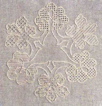 "Learn six pulled thread filling stitches with the Bolton Royal Sampler by Elizabeth Almond.   Design size is 8.5"" x 7.5"". Supplies required:  28-count Cream Cashel linen (3281-222)   DMC"