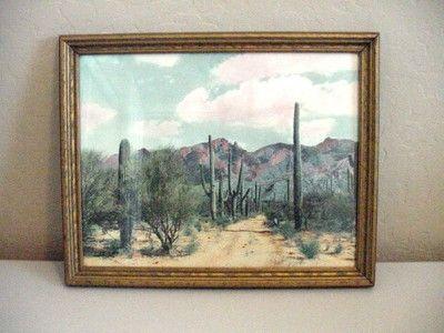 $23 2013 Vintage Southwestern Framed Art, Saguaro Cactus/Desert/Mountains/Arizona Print ? 12 X15  **************