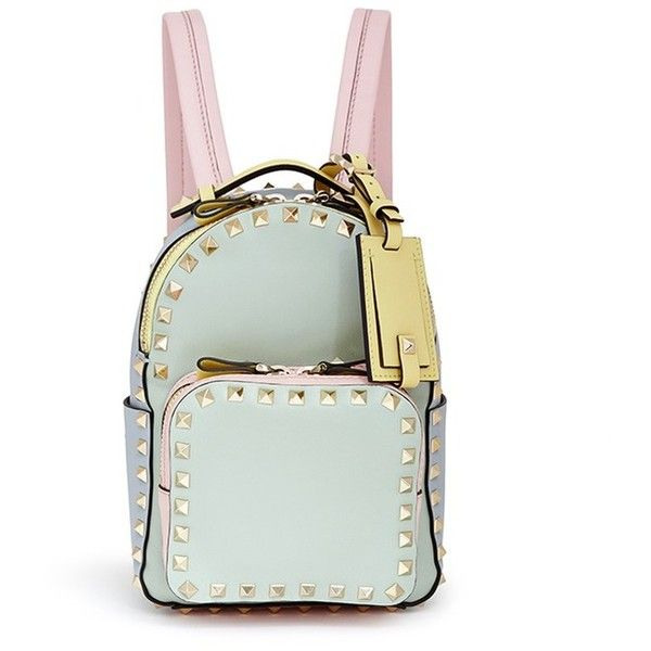 Valentino 'Rockstud' mini watercolour leather backpack featuring polyvore fashion bags backpacks accessories purses green backpack green crossbody backpack crossbody leather rucksack leather knapsack