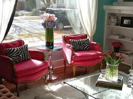 Downstairs in the reception area.: Decor Ideas, Living Rooms, Pink Zebras, Color, Pink Chairs, Hot Pink, Zebras Prints, Pillows, Girls Rooms