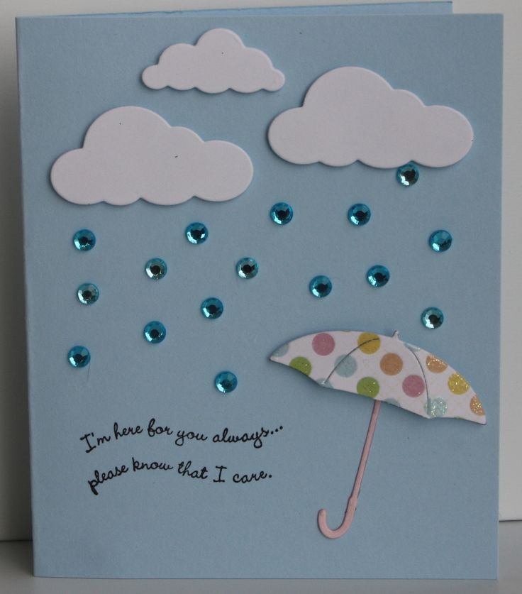 memory box cloud and umbrella card - bling rain - bjl