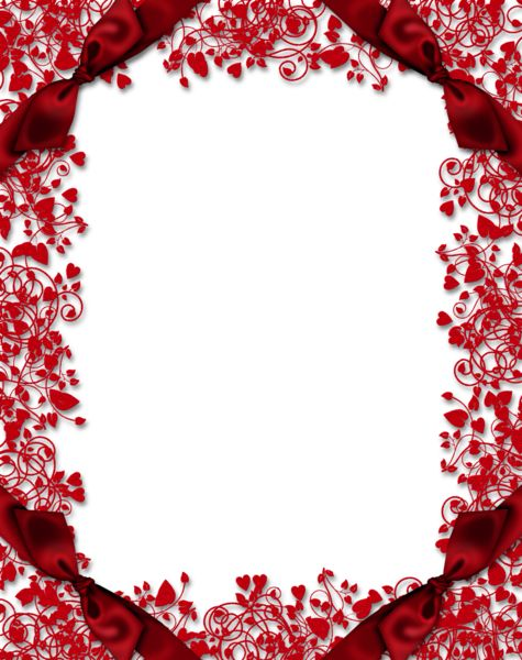 Red Transparent PNG Frame with Hearts and Bows