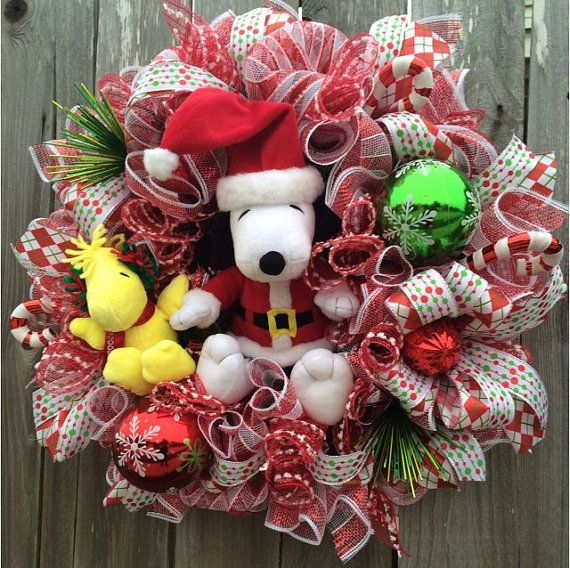 snoopy christmas charlie brown christmas christmas wreath charlie brown wreath snoopy decoration christmas door santa snoopy - Charlie Brown Christmas Decorations