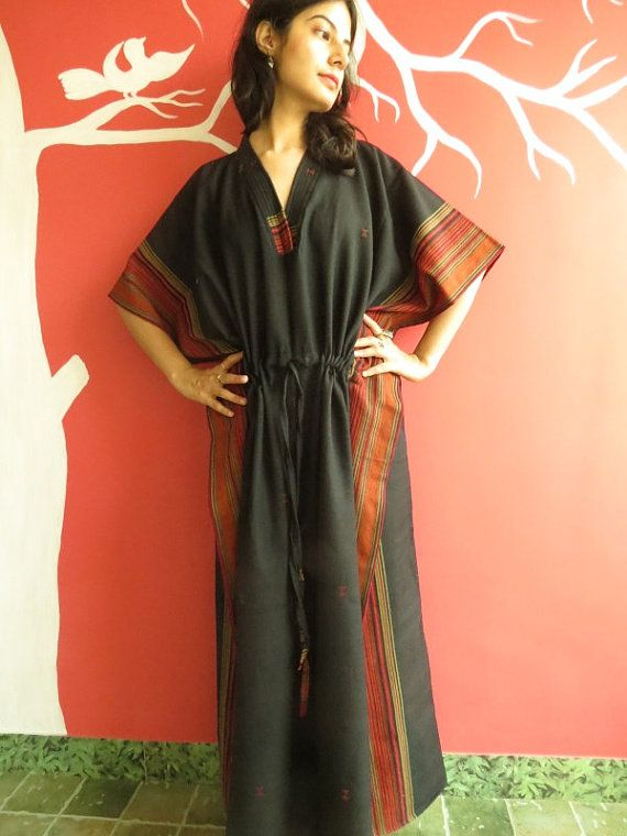 Woolen Kaftan Black handwoven caftan dress Perfect by silkandmore, $65.00