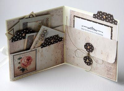 This would make a great idea for a wedding invitation (or any event) with the pockets for rsvp, directions, etc.Scrapbook Pockets, Cards Ideas, Minis Album, Handmade Cards, Wedding Invitations, Cards Holders, Gift Cards, Scrapbook Pages, Pocket Cards