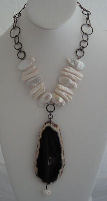Black Agate, Fresh Water Pearls and Gun Metal Chain. SOLD