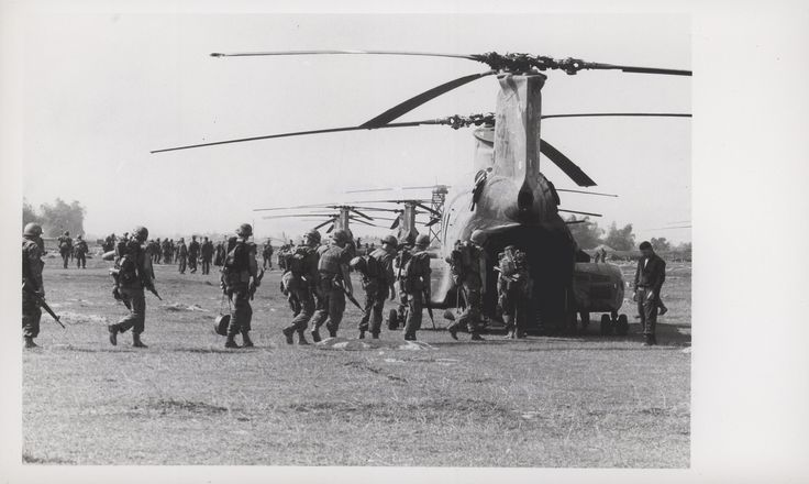 "https://flic.kr/p/BG1fBa | Marines Board Helicopters, circa 1968 | ""263 Lift: Marines board helicopters from the newly arrived Marine Medium Helicopter Squadron 263 [HMM-263] near Da Nang.  The squadron, on its first major operation since arriving in Vietnam in January, deposited the Leathernecks of the 1st Marine Regiment, 12 miles southwest of Da Nang (official USMC photo by Staff Sergeant J. J. Tolarchyk).""  From the Jonathan Abel Collection (COLL/3611), Marine Corps Archives &a..."