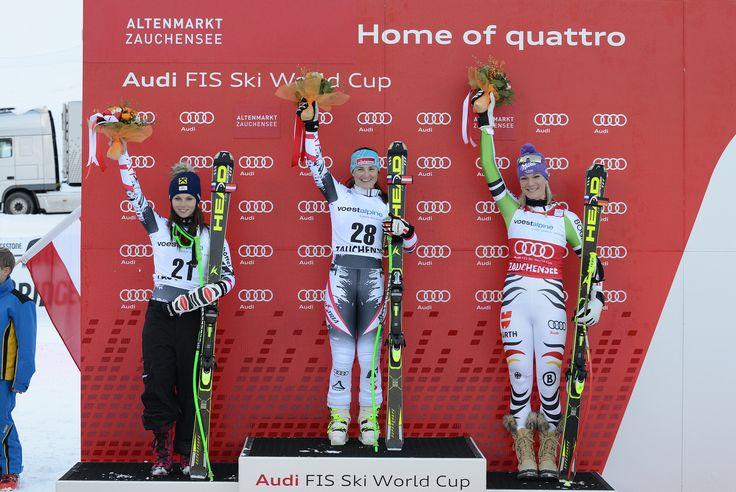 Siegerfoto Abfahrt Weltcup 2014 in Zauchensee. v.l. 2. Anna Fenninger, 1. Elisabeth Görgl, 3. Maria Höfl-Riesch   Flickr - Photo Sharing!