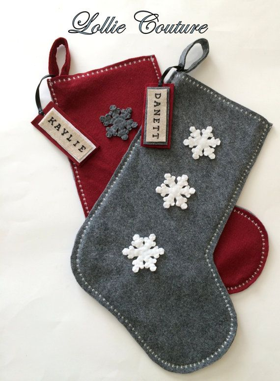 Classic Modern Wool Felt Christmas Stockings by ModernStyleHoliday