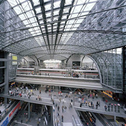 Berlin Central Station (Hauptbahnhof) designed by von Gerkan, Marg and Partners; Photo: Marcus Bredt