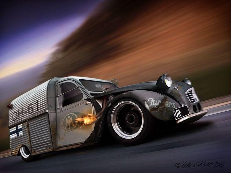 A nice Citron 2CV Turbo rad rod truck concept... dig it.