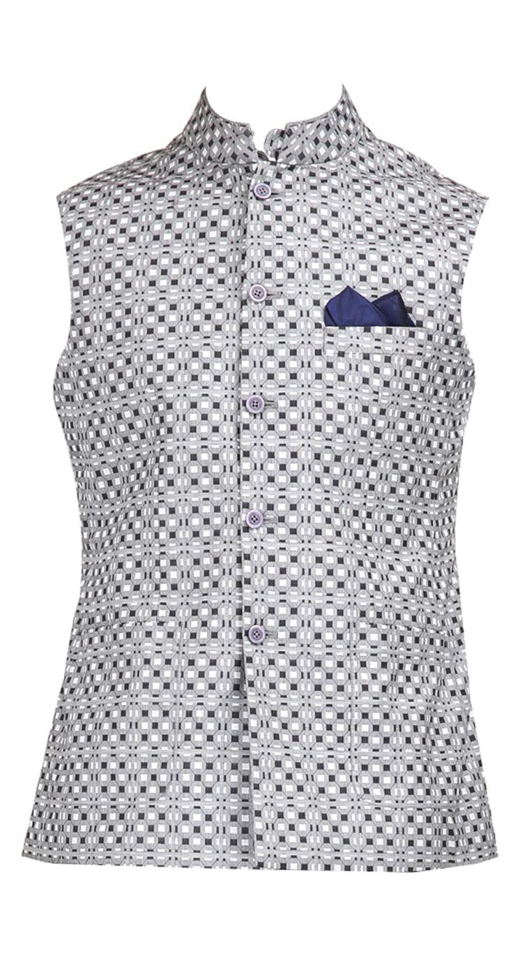 Black and grey checkered waistcoat by RAGHAVENDRA RATHORE. Shop at https://www.perniaspopupshop.com/mens-shop/raghavendra-rathore-3992