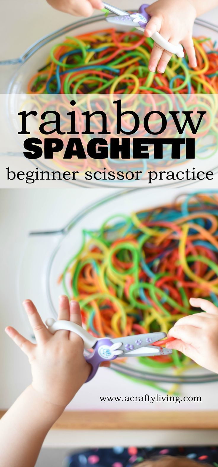 Beginner Scissor Activity with Rainbow Spaghetti for Toddlers & Preschoolers! www.acraftyliving.com