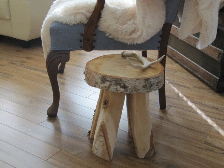 Cute little side table or stool made from a single round of birch using chainsaw & grinder.