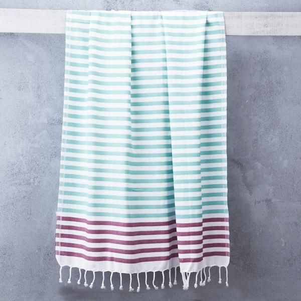 This Turkish Towel makes a perfect beach towel as it is compact and fast drying. Alternatively, get creative and use it as a blanket, wrap, scarf or throw! 100% cotton. Care: Machine wash up to 30çC. Line dry or tumble dry on low heat. Will become softer and more absorbent after 3-4 washes.