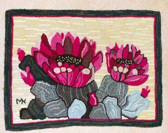 Hooked rug, primitive rug, hand hooked rug, primitive style hooked rug