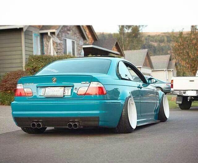 BMW E46 M3 teal deep dish slammed