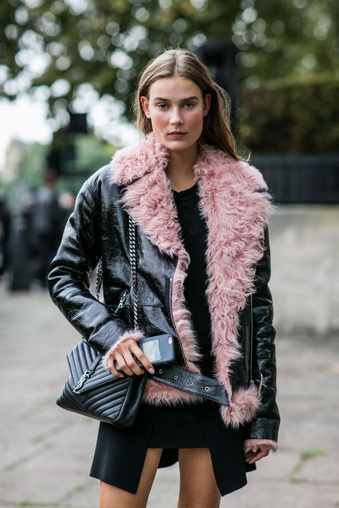 London Fashion Week. Pop of pink sheering