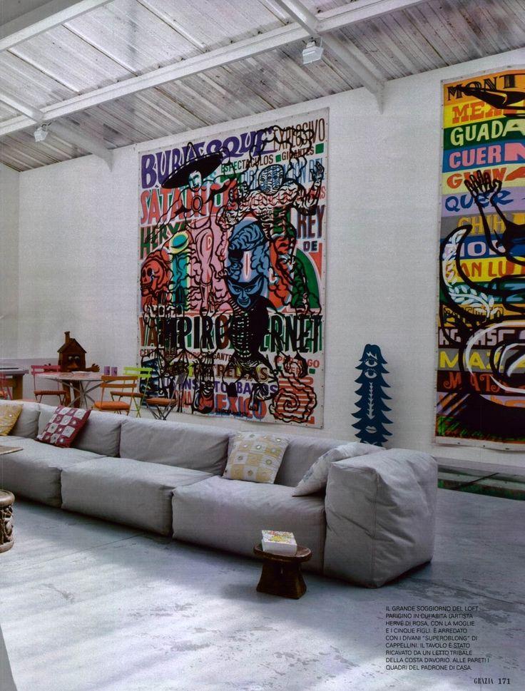 Graffiti style modern art / industrial living decor
