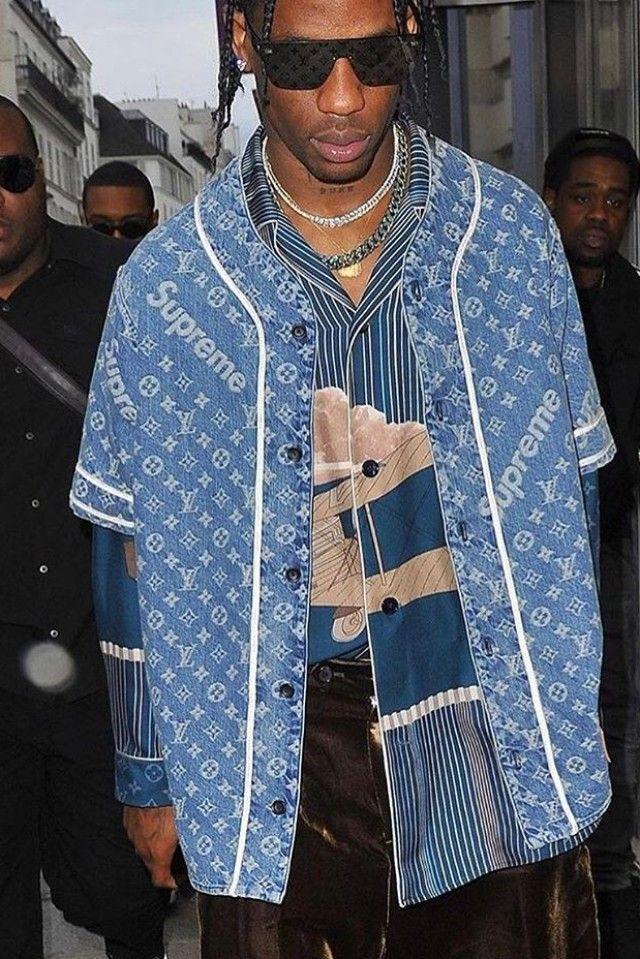 Travis Scott wearing Louis Vuitton F/W 17 Supreme Sunglasses, Louis Vuitton FW 17 Button Up, Louis Vuitton FW 17 Supreme Denim Baseball Shirt