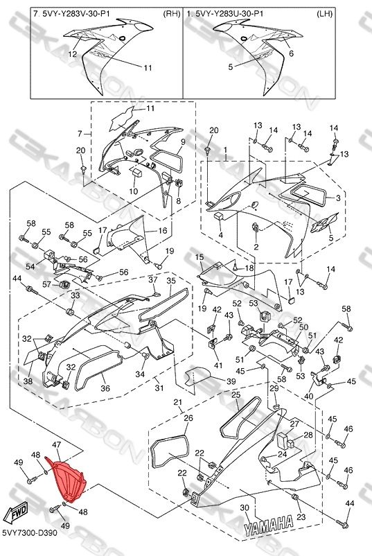 2004 - 2006 Yamaha YZF R1 Carbon Fiber V Panel