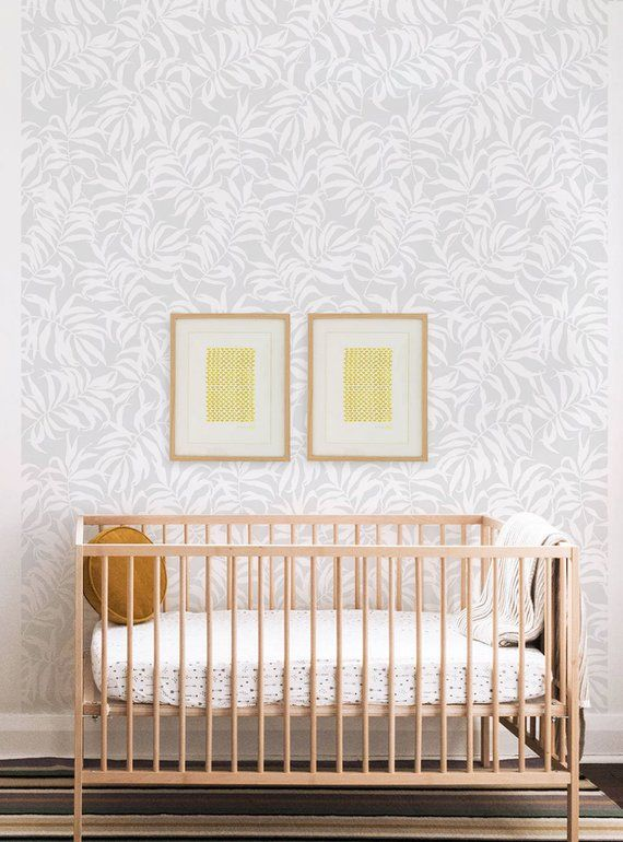 Tropical Palm Leaves Solid Grey Peel Stick Fabric Wallpaper Etsy Cleaning Walls Fabric Wallpaper Peel And Stick Wallpaper