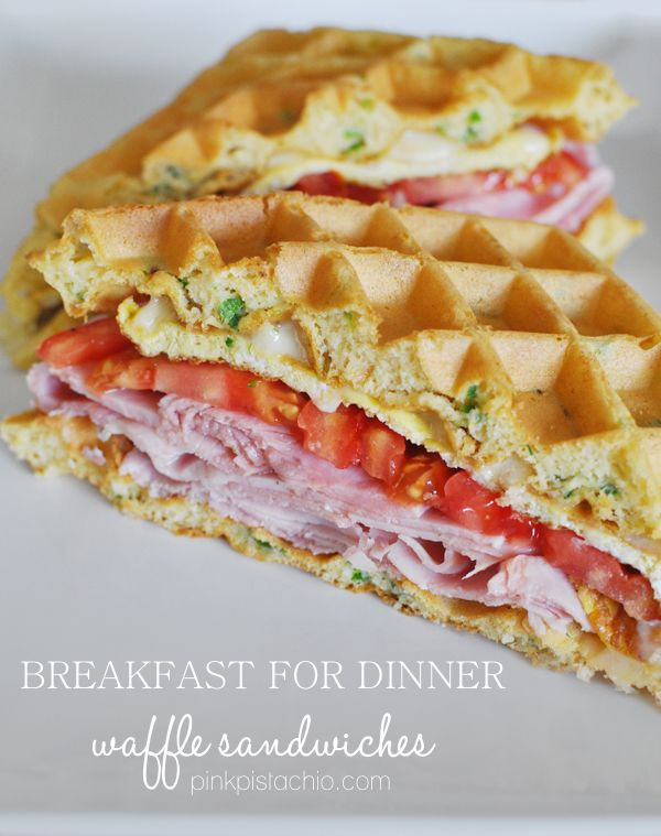 Breakfast for dinner: a waffle sandwich!- hmmm... he loves breakfast for dinner- I don't!  I may have to give this a try :)