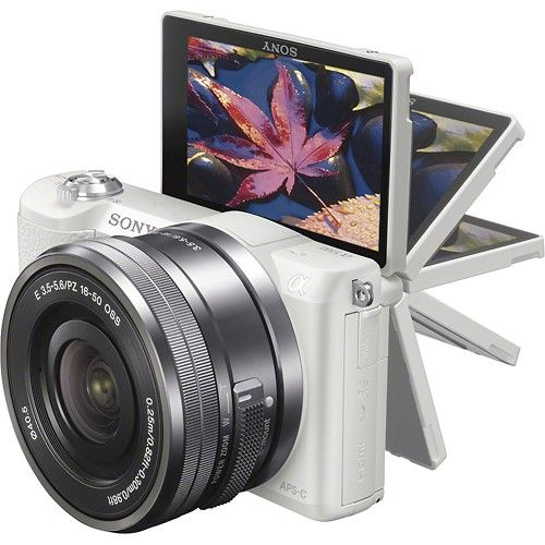 Sony - Alpha a5100 Mirrorless Camera with 16-50mm Retractable Lens | White