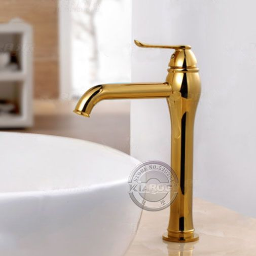 Bathroom Faucet,Gold modern design sink Bathroom Mixer Tap Single handle mixer basin faucet. Deck Mounted basin tap.GY 103K-in Basin Faucets...